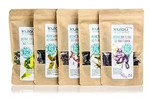 KULAU Bio-Algen getrocknet - Wakame/Nori/Meersalat/Dulse/Meeresspaghetti - Trockenalgen-Probierpaket (5 x 25g)