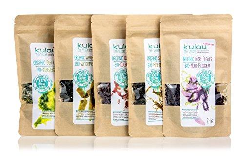 Dulse Flocken (KULAU Bio-Algen getrocknet - Dulse / Wakame / Nori / Meersalat / Meeresspaghetti - Meeresalgen-Probierpaket (5 x 25g))