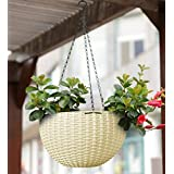 YOUNG CRAFTS Plastic Pot With Hanging Chains, White, 21cm 13 cm, 3 Pieces