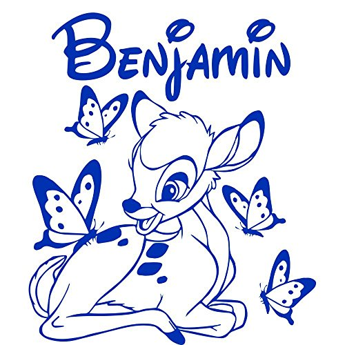 wandaufkleber 3d groß Maßgeschneiderte personalisierte Bambi und Schmetterling für Kinderzimmer Kinderzimmer