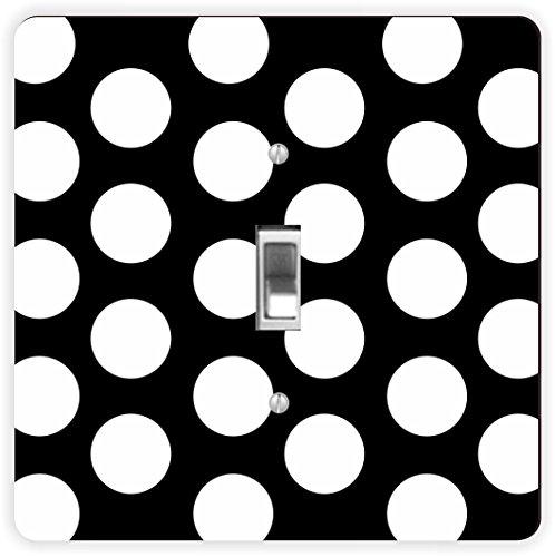 Rikki Knight weiß auf schwarz Polka dots-Single Toggle Lampe Switch Plate (Polka-dot-platten Weißen Schwarzen Und)
