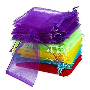 100 Stück Organzabeutel Klein 10 x 15 cm, Vegena Organza Säckchen Klein Organzasäckchen Kordelzug 5 Farben für Schmuckbeutel Hochzeit Säckchen Beutel Geschenk Fest Party