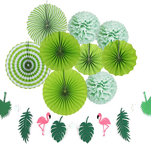 SUNBEAUTY Deco Vert Lot Rosace Papier Pompon Soie Flamingo Guirlande pour Summer Party Decoration Bapteme Mariage Fete Chambre