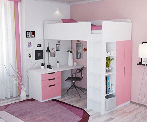 Polini Kids Kinder Etagenbett Hochbett mit Kleiderschrank Schreibtisch,1447.21 -