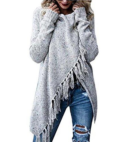 ASSKDAN Femme Automne Hiver Poncho Cape en Tricot Tassel Cardigan Chandail Gilet Ouvert Chic (XL, Gris-Z)