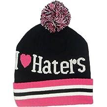 Nuevo Pom estilo I Love Haters rool-up gorro de punto gorro de invierno de lana