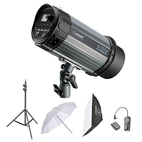 Neewer 300W Kit de Iluminación Flash Estroboscópico - (1)300W Monolight, (1)Soporte de Luz, (1)Softbox, (1)RT-16 Set de Disparador Inalámbrico, (1)Paraguas para Ubicación de Video y Disparo de Retrato