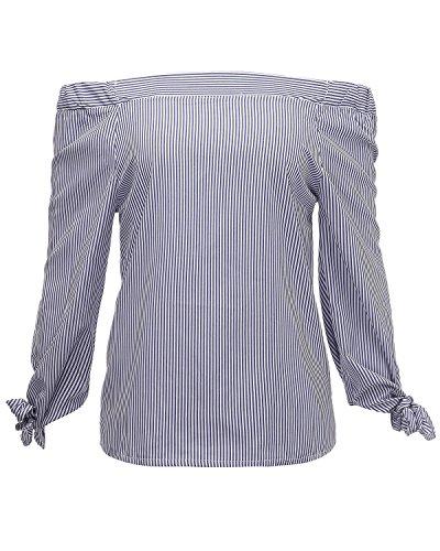 Minetom Femmes Filles Été Chemise Épaule Off Rayé Chemisier Manche Longue Tops Clubwear Bleu