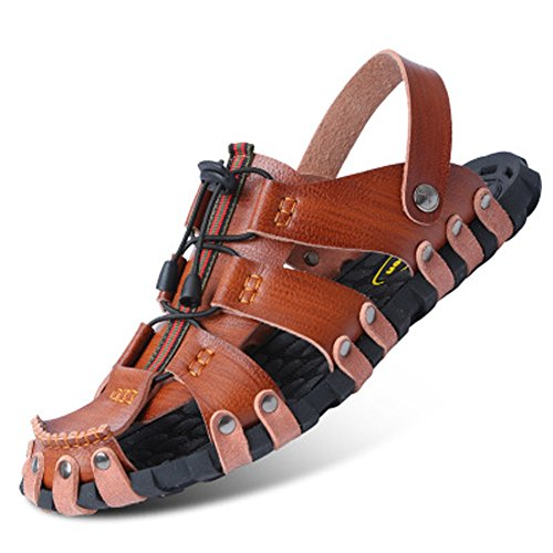 Herren Slide Geschlossene Sandalen Leder Freizeit Hausschuhe Outdoor Sommer Strand Pantolette Brau