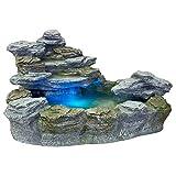 """STILISTA Mystischer Gartenbrunnen """"OLYMP"""" in Steinoptik 100x80x60cm groß Springbrunnen inkl. Pumpe und LED- Beleuchtung rot blau gelb grün"""