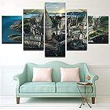DYCHJD Moderne Wandkunst Bilder Wohnkultur Modular Poster Fünf Stücke HD Gedruckt Sonnenuntergang Leinwand Malerei 10x15 10x20 10x25 cm