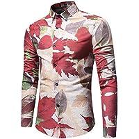 WULIFANG Hombre De Estampados Florales De Manga Larga Camisa Casual Masculino Impresión Floral Camiseta De Flores Color De Luz XXL