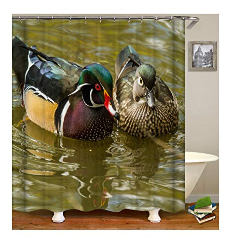 Polyester Duschvorhang Schwimmende Ente Muster Design Digitaldruck Badewannenvorhang Badewanne Vorhang - Grün mit Duschvorhangringen für Badezimmer Badewanne ()