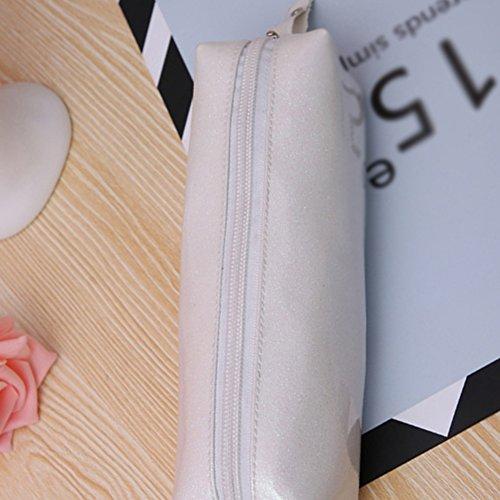 Qifumaer Trousse Scolaire en Toile, Grand Maquillage Plumier cosmétique Stylo Crayon Papeterie Stockage Sac Pochette Size 20 * 6 * 6CM (Blanc)