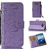 JiuRui Covers & Cases für Huawei Mate 10 Case gedrückt Horse Cloud Horizontal Flip Leder Wallet Pouch Case mit Kartensteckplätzen & Lanyard (Color : Purple)