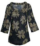 Ladies Linen Ruched Neck Floral Top (8, Bottle Green)