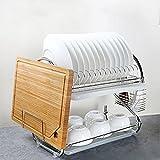 Lying Küchengeräte aus Edelstahl Abfluss der Schüssel Rack-Schüssel Geschirr Schüssel Stäbchen Messer Storage Rack -Verwendet, um die Küche aufzuräumen (Farbe : Weiß)