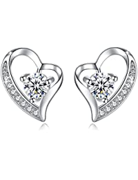 Jessibox Boucles d'oreilles femme fille en argent 925 silhouetteCoeur avec oxyde de zirconium- Cadeau mère anniversaire