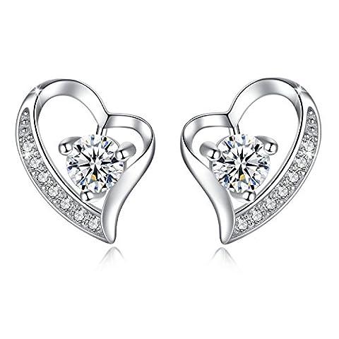 Jessibox Damen Silber Ohrringe Stecker mit Kristall Stein, Herz Ohrstecker Schmuck Geschenke für Frauen Mädchen (Transparent)