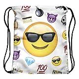Tskybag Jungen Mädchen Teenager Kordelzug Tasche Schule Handtasche Rucksack Schultertasche PE Bag Travel Tasche Saite Turnbeutel, Emoji Thug
