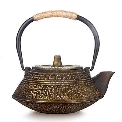 Théière En Fonte Théières Pour Pot Japonais En Fonte Xuan Tietang Pot En Fer Brut Théière Moulée À La Main Sans Revêtement Riche En Eau De Fonte Dorée 0,9 L