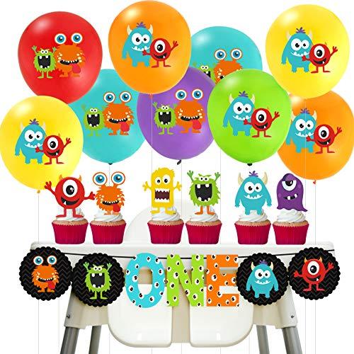 Jollyboom Monster Bash Dekorationen 1. Geburtstag Monster Bash One Banner Luftballons Cupcake Topper für Kinder Little Monster Birthday Party Supplies