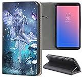 Samsung Galaxy S5 Mini G800 Hülle Premium Smart Einseitig Flipcover Hülle Samsung S5 Mini G800 Flip Case Handyhülle Samsung S5 Mini Motiv (1277 Manga Elfe Türkis Blau)