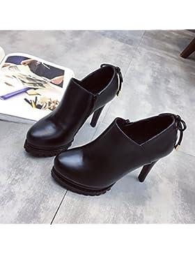 KPHY-Pajarita Bare botas zapatos High-Heeled Water-Thin cabeza redonda con una cremallera lateral profunda- 35...