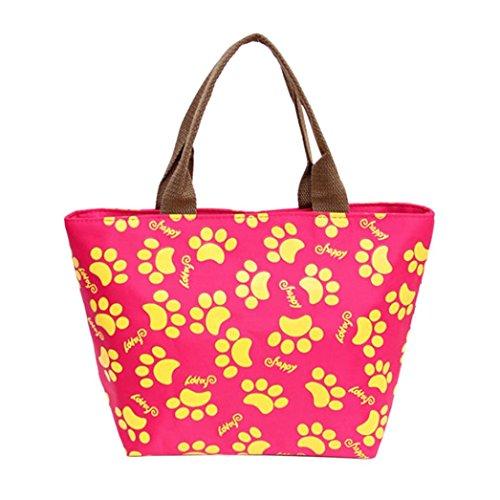 Coloré(TM) Sac Repas Lunch Bag Sac à Déjeuner Isotherme Fourre-tout de pique-nique fourre-tout isolé thermique (Rose Vif)