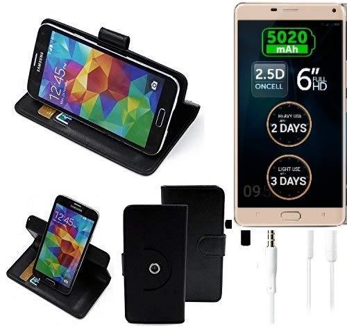 K-S-Trade® Case Schutz Hülle für Allview P8 Energy Pro + Earphones Handyhülle Flipcase Smartphone Cover Handy Schutz Tasche Walletcase schwarz (1x)