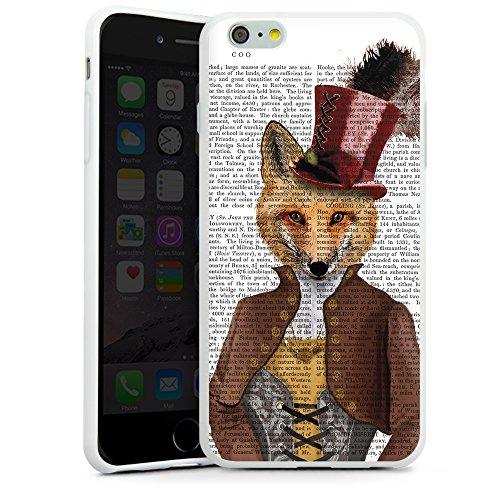 """artboxONE Handyhülle Apple iPhone 6, schwarz Hard-Case Handyhülle """"Fürst Fuchs Case"""" - Tiere - Smartphone Case mit Kunstdruck hochwertiges Handycover von FabFunky Silikon Case weiß"""