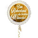 Folien-Rundballon 'Zum Ruhestand die besten Wünsche', ca. 43 cm Ø, ohne Gasfüllung/ohne Gruß-Karte