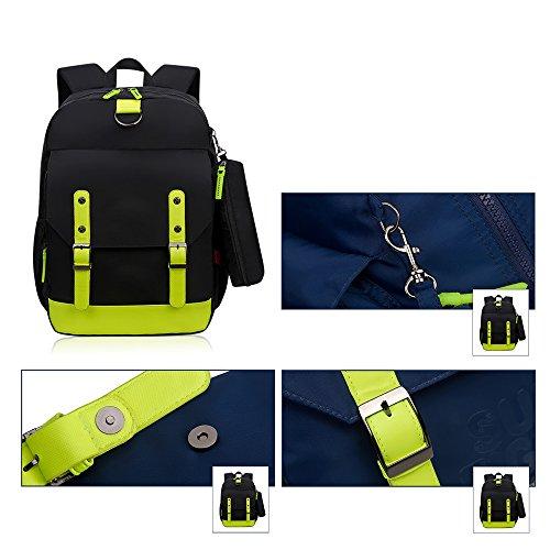 KINDOYO Wasserdichter Rucksack für Kinder Unisex Schultaschen Jungen Mädchen für Reisen, Wandern, Sport Schwarz Grün