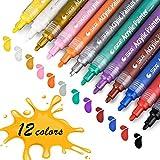 Acrylstifte Marker Stifte, STA permanent marker 12 Farben mittlere Strichstärke, ungiftig, zum Bemalen von Steinen, Keramik, Glas, Leinwand, Tassen, Holz und Ostereiern