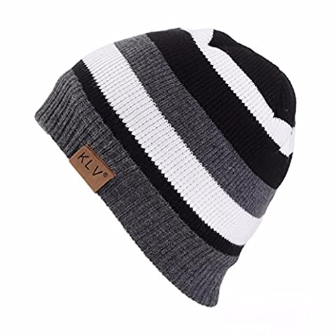 Beanie hat hipster Men Women striped thin Unisex Patchwork Crochet Winter Wool Knit Skull Slouchy Caps Hat Casual (White,