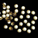 #10: Embroiderymaterial Round Shape Cream Kundans For Jewellery Making,Craft,Embroidery Work & Dress Making- 50 Pcs, 9Mm