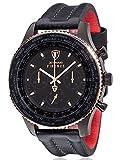 DETOMASO-Herren-Armbanduhr Firenze XXL Chronograph mit schwarzem Edelstahl-Gehäuse und schwarzem Zifferblatt. Klassische Herren-Uhr mit einem XXL-Durchmesser von 48mm