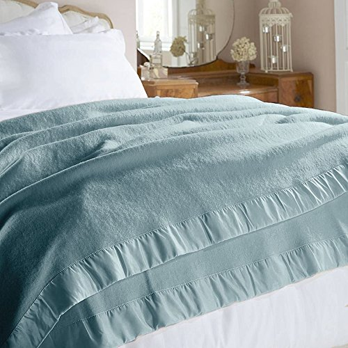 Genuine 100% Pure Merino Lambswool Throw Blanket, Double Duck Egg Blue - Mountain Moose Co.