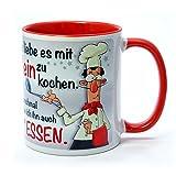 Witzige Tasse - Ich Liebe es mit Wein zu Kochen -Lustiger Kaffeebecher mit lustigem Motiv - originelle Geschenke kommen immer gut an, z.B. als Geburtstagsgeschenk. (rot)