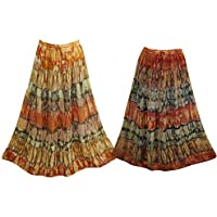 Mogul Interior 2pcs Women's Maxi Skirt Tie Dye A-Line Boho Chic Long Skirts S/M Yellow, Orange