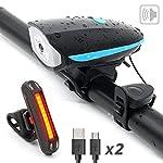 YHX-Luci-Bicicletta-Luce-per-Bicicletta-Ricaricabile-USB-con-ClacsonFaro-Impermeabile-Super-Luminoso-250LM-e-fanale-posterioreda-Compatibile-con-Montagna-Strada-Bambini-e-Biciclette-da-Citt