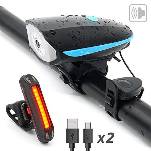 YHX Eclairage Vélo,Kit lumière de vélo USB Rechargeable, Puissante Lampe Vélo Avant 250LM + Sonnette 140dB 5 Modes Impermeable pour Vélo VTT Cycliste Camping Sport