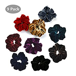 9 Pack Large Velvet Scrunchies for Women Elastic Hair Ties Ropes