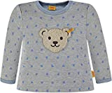 Steiff Unisex Langarmshirt Sweatshirt Oberteil Herzen Allover Teddybär Bär grau blau 6836741 (80)