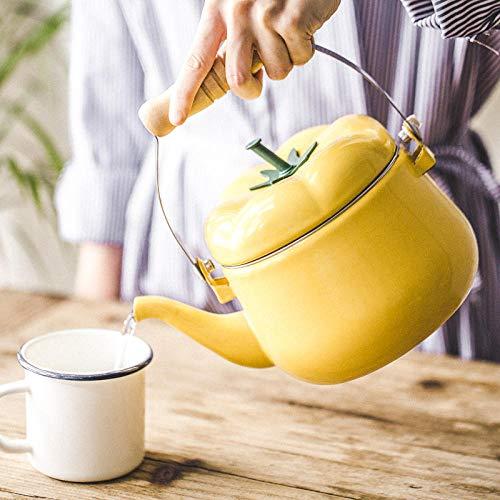 Emaille-Topf Gelber Tomatekessel Japanische Verdickungsporzellan Emaillierte Bewässerungstopf-Blumenberieselungsanlage, Die Kessel Tee-Urnenmundteekanne Pfeift -