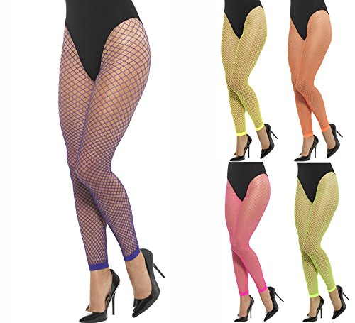 Smiffys Damen Netzstrumpfhose ohne Füße, One Size, Neon Grün, 45157 - Netzstrumpfhose Neon-grün