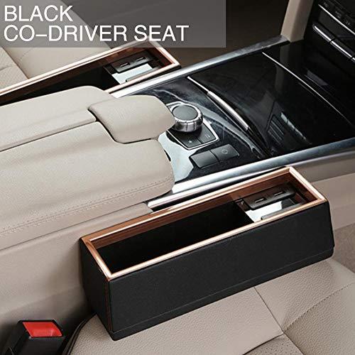 lennonsi Autositze auf der Seite der Aufbewahrungsbox Sandwich-Box mit 4 USB Ladedatenlesefunktion PU Leder Handy Aufbewahrungsbox für alle Autos,Frei Demontiert