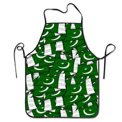 Bib Apron Pakistan Flag Wave Collage Kitchen Apron Waterproof for Cooking Chef Baker Servers BBQ Craft Men Or Women 20
