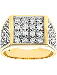 Naava Men's 9 ct Yellow Gold Diamond Cluster Ring
