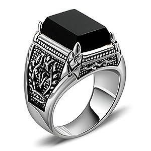 Aienid Eheringe Silber 925 Matt Olivenzweig Synthetischer Schwarzer Achat Herrenring Zeigefinger Einzelring